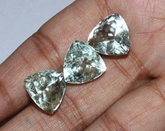 3 Pcs 11-12  mm Natural Green Amethyst Faceted Trilian Cut Stone, Loose Gemstone / 2 Pcs 1 Match Pair & 1 Focal GA57