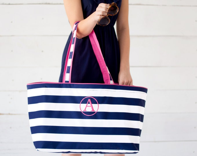 Extra Large Preppy Striped Tote Bag with Free Monogram, Add a Matching Smaller Bag If You'd Like