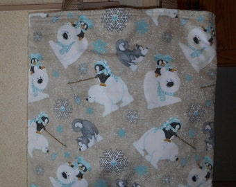 Polar Bears Penguins Tote Bag Snowflakes Husky Dog Winter Handmade Purse Limited