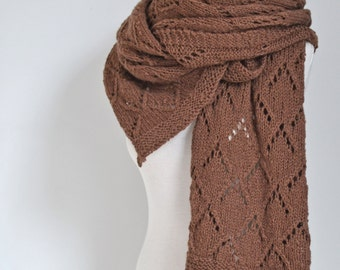 Lace knitted shawl, brown,  P427