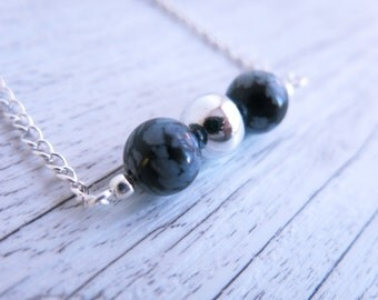 Snowflake Obsidian Necklace Beaded Bar Silver Ball Necklace Minimalist Necklace