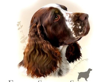 "ENGLISH SPRINGER SPANIEL (Liver & White) with Phrase on One 16 inch Fabric Panel to Sew. Actual Picture is 8"" x 9""on white background."