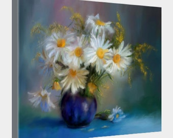 White Daisies in Cobalt Vase, gloss canvas finish, gallery wrap, thin, with wire hanger backing