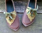 Womens leather shoes, PYRAMUS, Handmade Fairytale Shoes by Fairysteps in woodland colours or brights