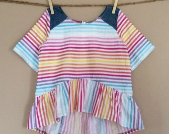 shortees double rainbow top : girls elbow sleeve ruffled peplum hi-lo blouse - available in toddler and big girl sizes