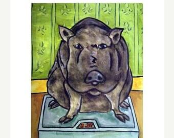 Pot Belly Pig in the Bathroom Animal Art Print