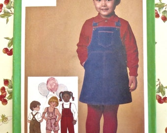 Vintage 1980s Childs Overalls and Jumper Pattern - Simplicity 9722
