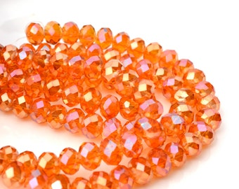 Autumn Sun 8x6mm Faceted Crystal Rondelle Beads  25