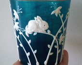 Super Cute Bunny in the the Flowers Sculpted with Polymer Clay onto a Recycled Glass Candle Holder