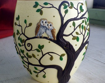 Two Owls Cuddling in a Tree with a Carved Heart Sculpted with Polymer Clay onto a Recycled Glass Candle Holder in Pale Yellow