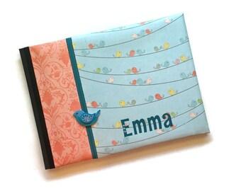 Pink and Blue Bird Baby Book Landscape Orientation Emma