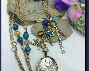 Boho #Charm #Cluster Necklace Imperial #Jasper #Watch Parts Pendant Extra Long #Bohemian Jewelry Czech Glass Beads Brass Charms #Gypsy Chic