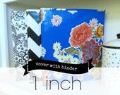"1 inch oilcloth binder with cover // 1"" 3 ring home organization planner recipe binder three ring portfolio // gold chevron floral stripe"