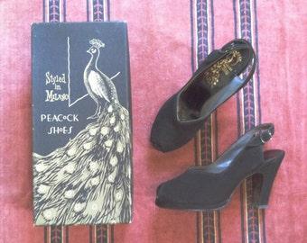 Vintage 1940's Black Peep Toe Slingback Platform Shoes • sz 6.5