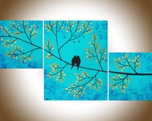"""Contemporary wall art Set of 3 painting gold teal blue birds Tree Branches shabby chic Wall art wall decor """"Looking Up"""" by QIQIGALLERY"""
