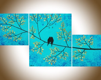"""Contemporary landscape Set of 3 painting gold teal blue birds Tree Branches shabby chic Wall art wall decor """"Looking Up"""" by QIQIGALLERY"""