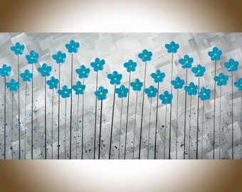 "Turquoise flowers painting canvas art home decor wall decor grey flowers palette knife Canvas wall hangings ""After the Rain"" by QIQIGallery"