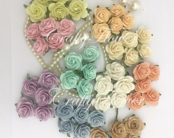 50 Pastel Mix Small Mulberry Paper Flowers for Baskets Scrapbooks Wedding Faux Cupcake Cards Dolls Crafts Roses 426/R6