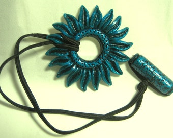 Teal Flower Hair tie or Ponytail Holder for Dreads Dreadlocks or Thick Hair or Sisterlocks Teal Daisy Textured