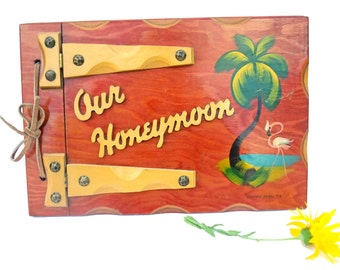 Vintage Wooden Photo Album Honeymoon Book Daytona Beach Florida Handpainted Flamingo Palm Tree Wedding Keepsake