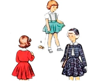 Vintage 1940s Girl's Sewing Pattern Blouse Suspender Circle Skirt Bolero Jacket 40s Child's Clothing Girl Suit size 8 McCall 7521