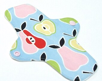 """8"""" Ultrathin Pantyliner - Reusable Cloth winged liner - Quilter's Cotton top - Apples and Pears"""