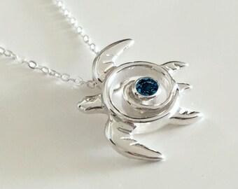 London Blue Topaz Sea Turtle Necklace - Blue Topaz Turtle Pedant - December Birthstone - Turtle Totem Sterling Silver - Blue Ocean Sea Life