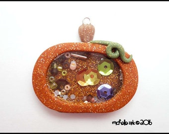 New Polymer Clay Pumpkin Shaker Charm Pendant