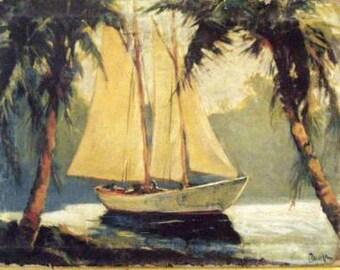 Tropical Sail Boat Ready to Hang Print Redux Canvas Pawla Santa Barbara Museum Quality NEW!
