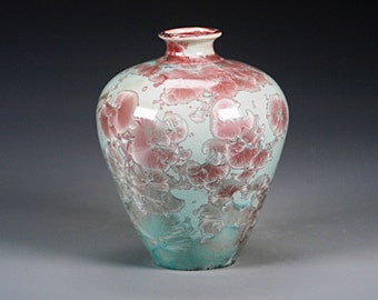 Porcelain Vase - Light Green, Red - Crystaline Glaze - Hand Made Ceramics - FREE SHIPPING - #B-5413
