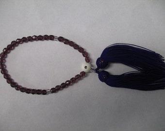 Purple Crystal Ojuzu Prayer Beads with Dark and Light Purple Tassel