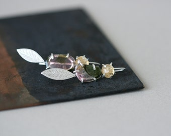 Tourmaline and Topaz Form Studs