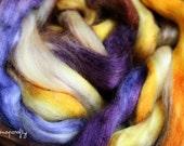 hand-dyed tussah silk / spinning fiber, blending fiber/ 3.6 oz / date night colorway / gold, violet, orange, fawn, cream