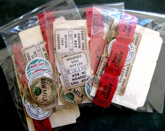 Fabulous 50s - Vintage Ephemera, Milk bottle caps, Red and Aged Tickets, Index Cards