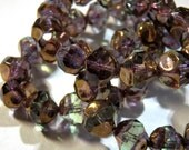 Czech Lavender & Olive Gold Center Cut Round Glass Beads 8mm (15) 1167