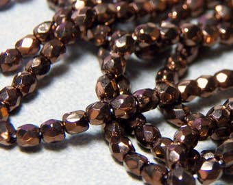 Czech 3mm Metallic Brown Faceted Round Pressed Glass Beads (50) 032