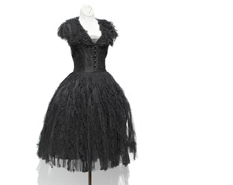 Vintage Black Mesh and Lace Dress / Party Dress / Evening Dress