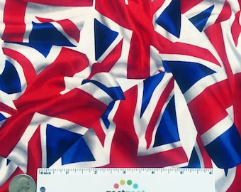 BRITISH FLAG Red White Blue Cotton Quilt Fabric - by the Yard, Half Yard or Fat Quarter Fq London Flags Uk England United Kingdom