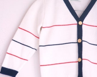 Vintage children's cardigan sweater red white and blue 2t