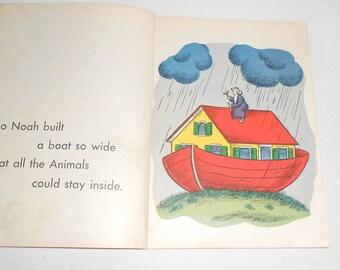 Vintage Noah's Ark Book, Rand McNally Noah's Ark Book, Animal Art Print ts, Baby Nursery Prints, Kids Illustration