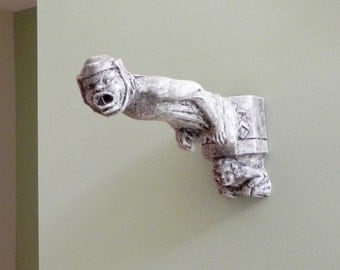 Vintage gothic wall mounted incense burner - smoke comes out of gargoyle's mouth wall sculpture