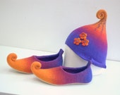 Amazing set- Fairy elf shoes felted from wool with flowers and adorable felted hat. Custom colors, any sizes