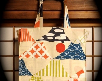 Japanese Mountain Tote Bag, Funky Mt. Fuji's TIGHT 'N' TIDY Tote Bag, Reusable Folding Shopping Bag, Red White Blue Chartreuse Orange Cream