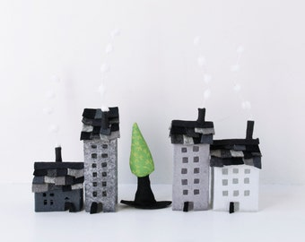Felt ornaments Set of grey buildings of felt  with a tree Miniature houses  Home decor Sweet Home