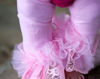 Pink Ruffle Tutu Leg Warmers, Lace, Ribbons & Pearls  Leg Warmers - Perfect for Birthday Party, Photo Prop, Holida Gifts