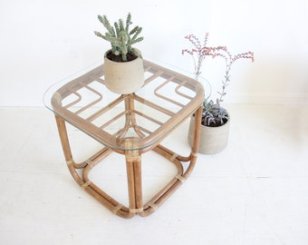 Square Franco Albini Style Rattan Side Table (Pair Available)