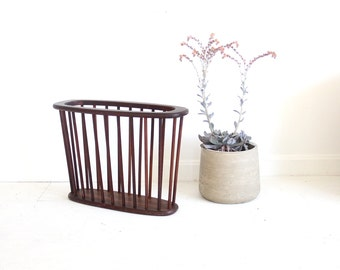Modern Wood Slatted Walnut Magazine Rack