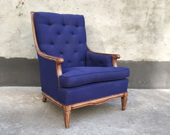 Tufted Purple Blue Upholstered French Bergere Armchair