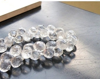 Clearance SALE Rock Crystal Quartz Gemstone Briolette Faceted Onion 8 to 8.5mm 21 beads 1/2 Strand