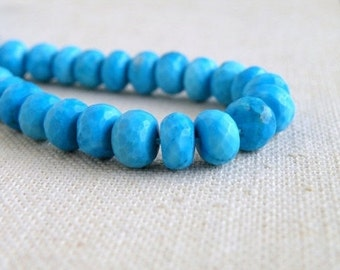 Howlite Dyed Turquoise Gemstone Blue Faceted Rondelle 8mm 1/2 Strand 18 beads